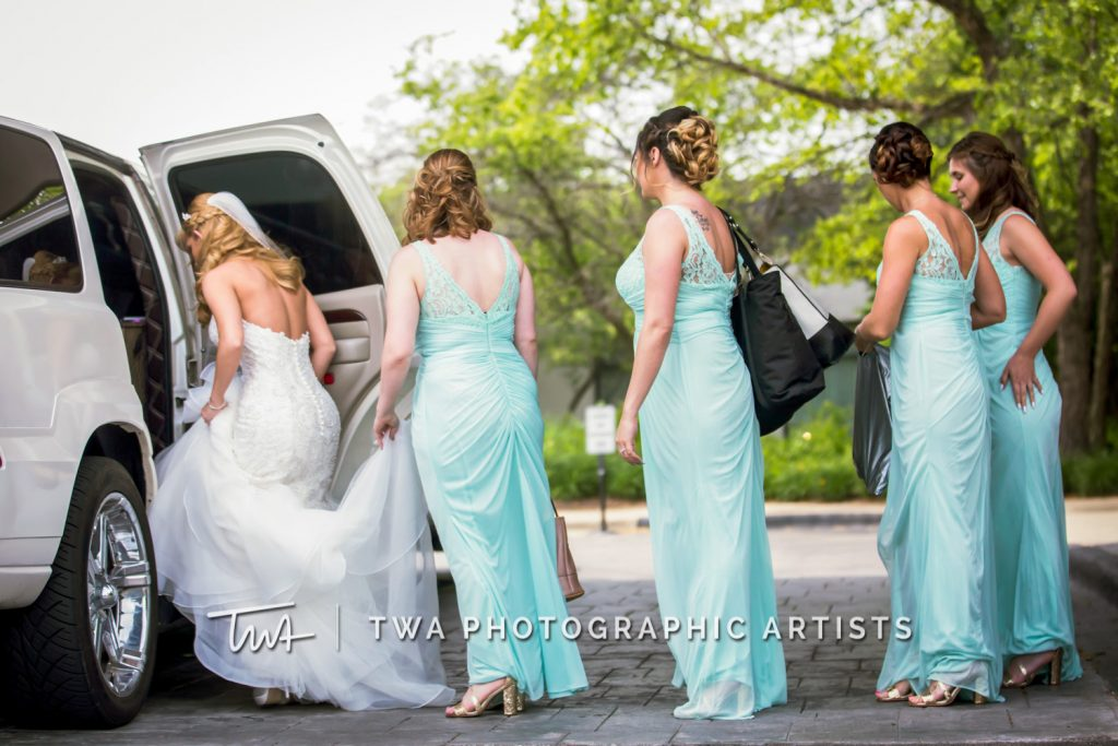 Bridesmaid assisting bride into car