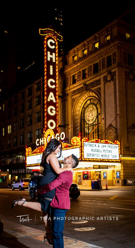 couple in front of chicago theater