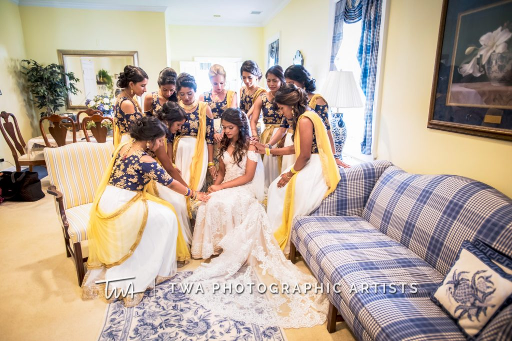 Bride Praying with Bridesmaids