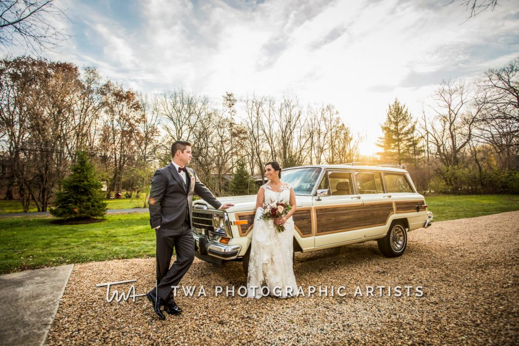 Couple with old school car