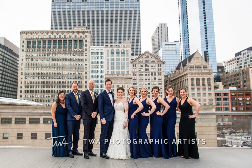 Bridal party photo downtown Chicago