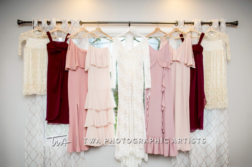 Detail photo of wedding gown and bridesmaids dresses
