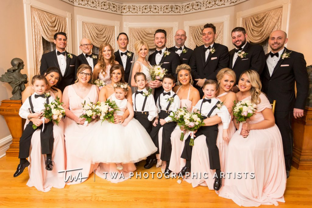 Couple with entire bridal party